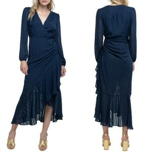 NEW ASTR Navy Side Cinched Ruffle Hem Midi Dress M